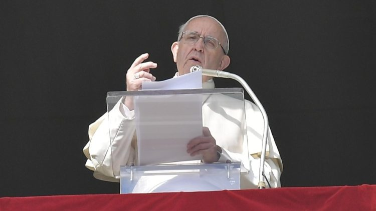 Pope Francis at the weekly Angelus address