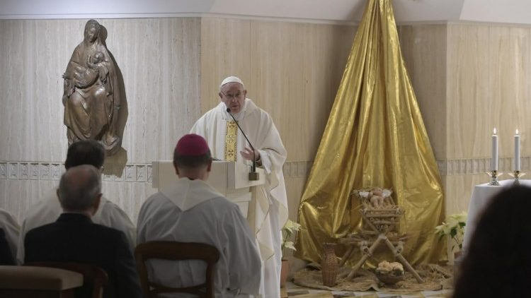 Pope Francis delivers the homily at Mass in the Casa Santa Marta
