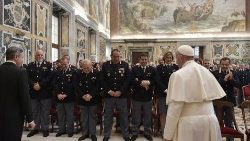 Pope Francis meeting officials and personnel of the Inspectorate of Public Security at the Vatican on Jan. 17, 2019.