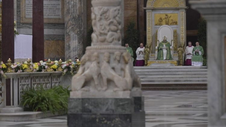 Pope Francis presides at the celebration of Vespers at the Papal Basilica of St Paul's Outside-the-Walls