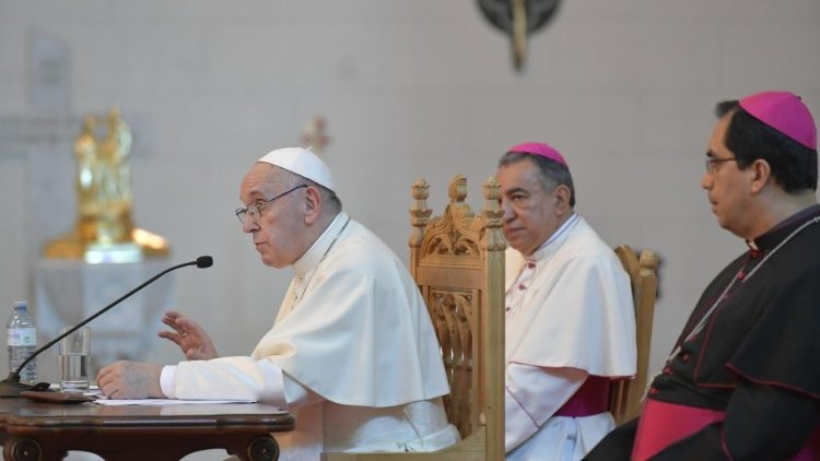 Pope Francis speaks to Central American Bishops in Panama