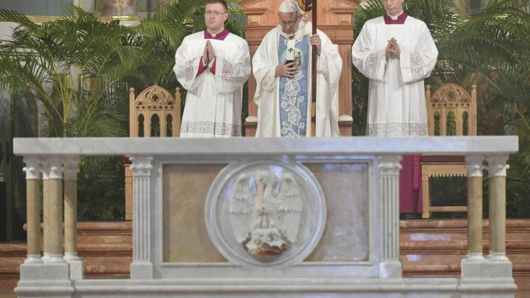 Pope Francis celebrates Mass in the Panama City's Cathedral
