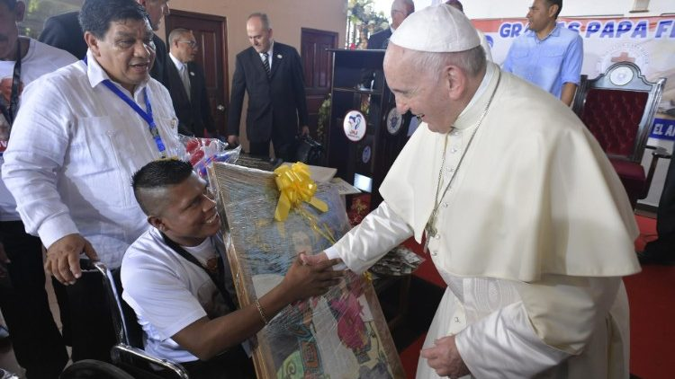 Pope Francis visits the Shelter of the Good Samaritan in Panama City