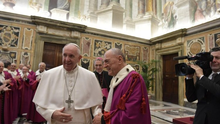Pope Francis greets members of the Roman Rota