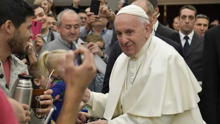 Pope Francis greets pilgrims at the weekly General  Audience