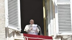 Pope Francis addresses pilgrims after the Angelus prayer