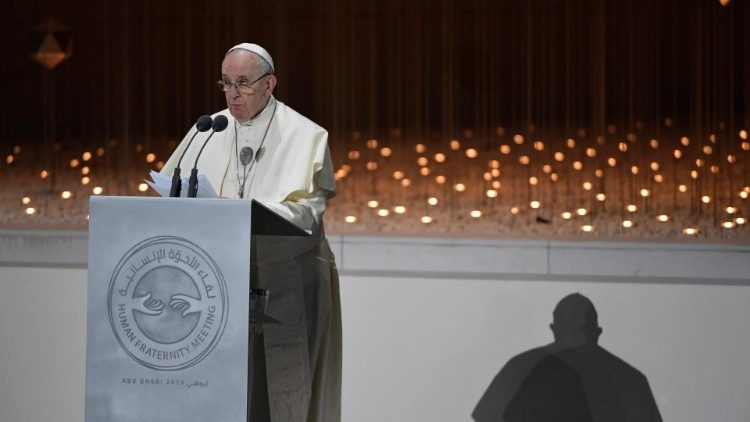 Pope Francis attends the Global Conference of Human Fraternity