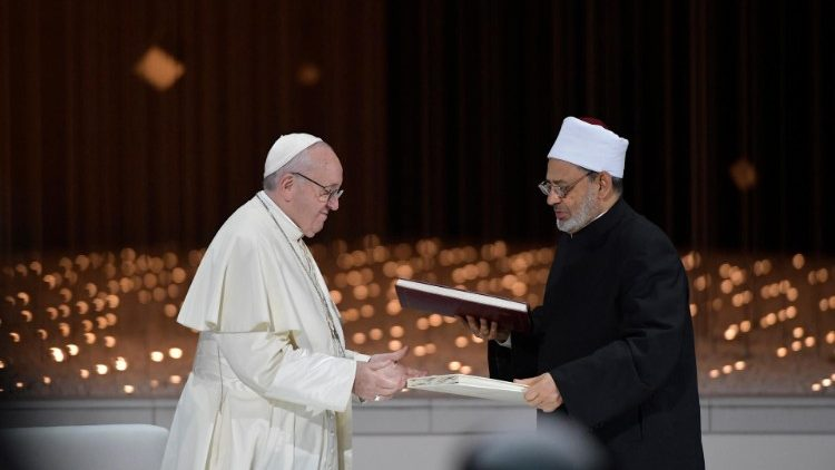 Pope Francis and Grand Imam Ahmed el-Tayeb at the signing of the Document on Human Fraternity