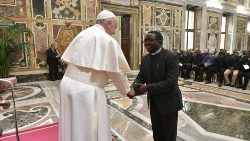 Pope Francis greets members of the Missionaries of Africa