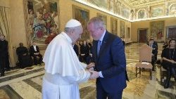 Pope Francis greets John McCaffrey at the audience with the Galileo Foundation