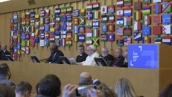 Pope Francis speaks to IFAD staff