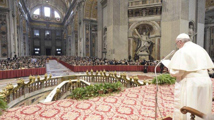 Pope addressing pilgrims from Italy's Benevento Diocese in St. Peter's Basilica on Feb. 20, 2019.