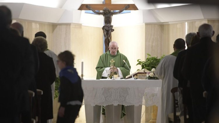 Pope Francis at Mass at the Vatican's Casa Santa Marta, Feb. 28, 2019.