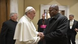 Pope Francis meets President Faustin Touadéra of the Central African Republic