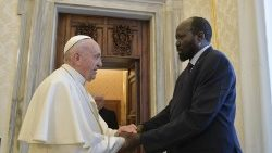 Pope Francis meets South Sudan's President Salva Kiir in March 2019