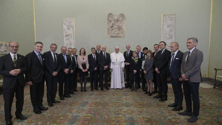 Pope Francis with members of  the Italian Federation of Pediatricians