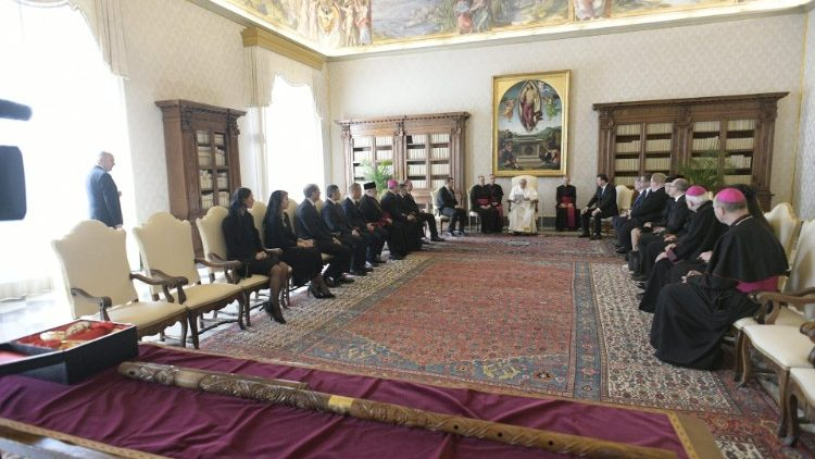 Pope Francis addressing a delegation of Czech and Slovak parliamentarians.
