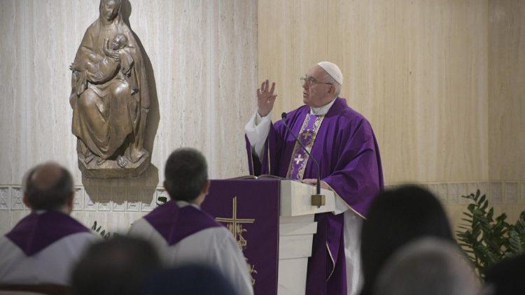 Pope at Mass at Casa Santa Marta in the Vatican, 28.03.2019.