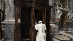 Pope Francis receives the Sacrament of Reconciliation in St. Peter's Square