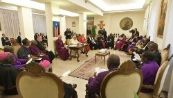 Pope Francis hosts a spiritual retreat for South Sudan leaders in the Vatican in April 2019