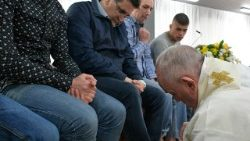 Pope Francis washes an inmate's feet at Velletri's prison
