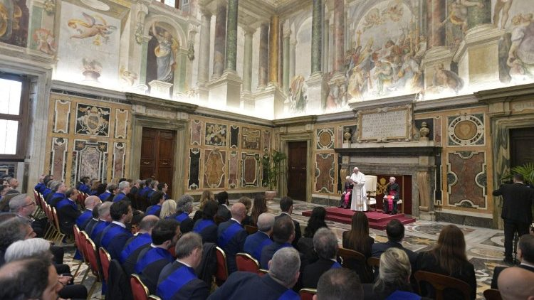Pope Francis addressing representatives of the Union of the Provinces of Italy (UPI).