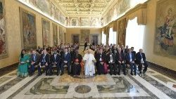 "Pope Francis with participants in the Vatican meeting on ""Mining for the Common Good""."