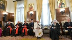 Pope Francis with the Holy Synod of the Bulgarian Orthodox Church, May 5, 2019.