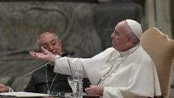 Pope Francis speaks to the clergy of the Diocese of Rome