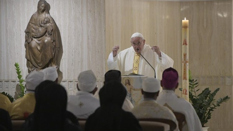 Pope Francis preaches at the morning Mass
