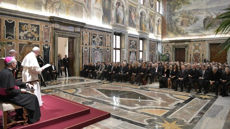 Pope Francis addressing members of Italy's Foreign Press Association.