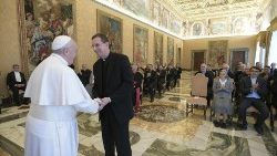 Pope Francis greets Fr. Ferruccio Brambillasca, Superior General of PIME