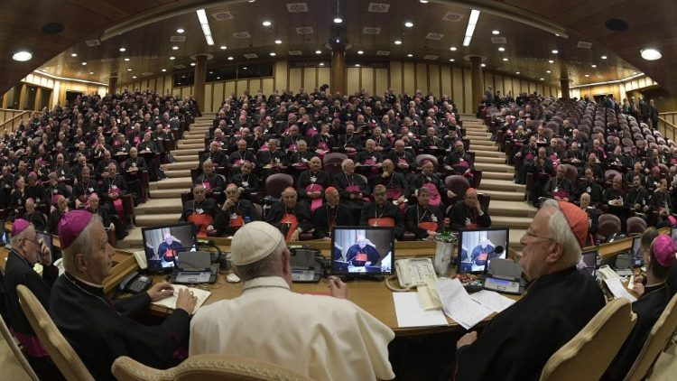 Pope Francis addresses members of the Italian Episcopal Conference at the start of their General Assembly