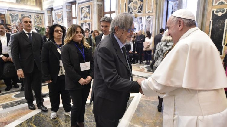Pope  Francis meeting representatives of the Italian Ecclesiastical Museums Association, May 24, 2019.