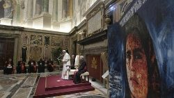 Pope Francis speaks to members of Caritas Internationalis