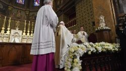 Pope Francis celebrates Mass in Bucharest's Catholic Cathedral