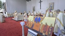 Pope Francis celebrates the Divine Liturgy and Beatification ceremony for seven martyrs in Blaj