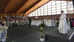 Pope with First Communion children