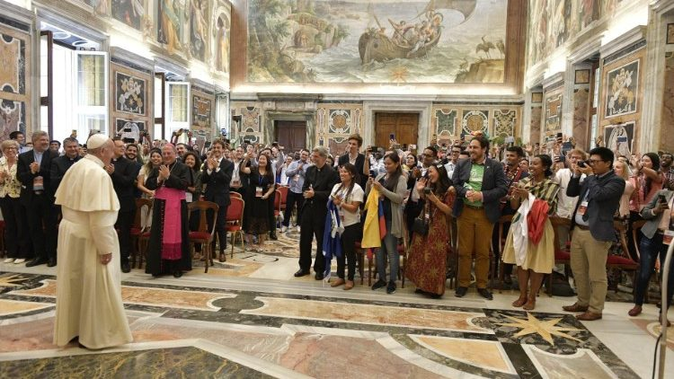 Pope Francis greets young people taking part in the XI International Youth Forum