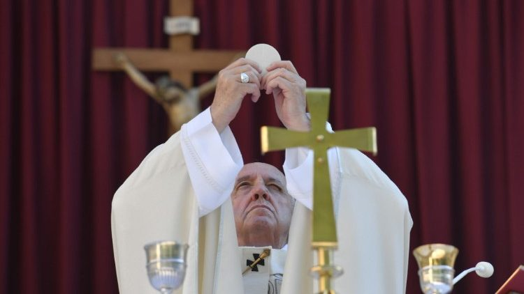 Pope Francis celebrates the Eucharist on Corpus Christi Sunday