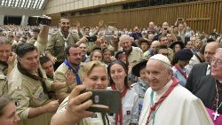 Pope Francis meeting some 5,000 scouts from over 20 European countries on August 3, 2019.