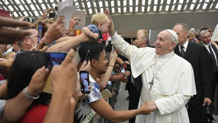 教皇フランシスコ、バチカン・パウロ6世ホールでの一般謁見 2019年8月7日