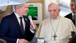 Pope Francis during an in-flight press conference