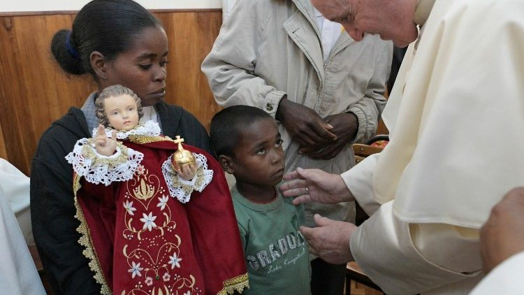Pope Francis meets survivors of a measles epidemic in Antananarivo