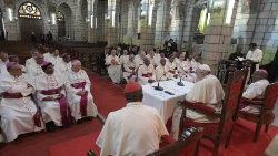Pope Francis addressing the bishops of Madagascar in Andohalo Cathedral, in Antananarivo.