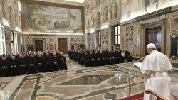 Pope Francis addressing members of the General Chapter of the Augustinians.