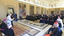Pope Francis meeting bishops of the Oriental Catholic Churches of Europe.