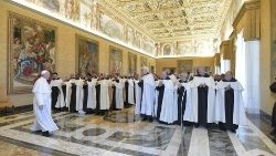 Pope Francis meeting the General Chapter members of the Carmelite Order.