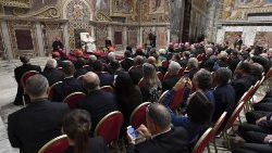 Pope Francis addressing the Dicastery for Communication.