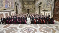 Pope Francis meeting members of the Dicastery for Communication